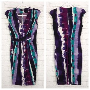 Komarov Abstract Ruched Cap Sleeve Stretch Dress S